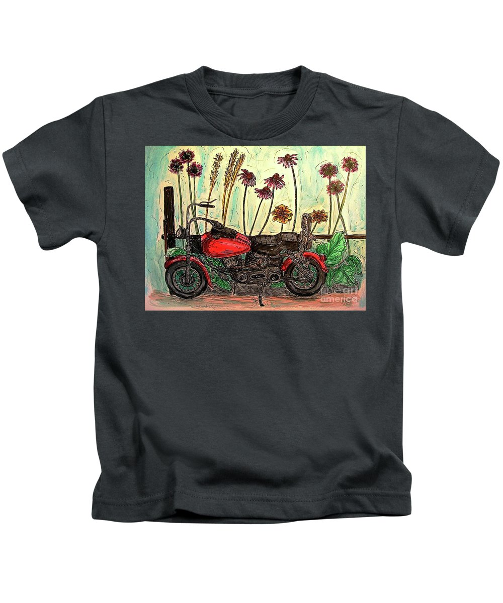 Motorcycles Kids T-Shirt featuring the painting Her Wild Things by Kim Jones