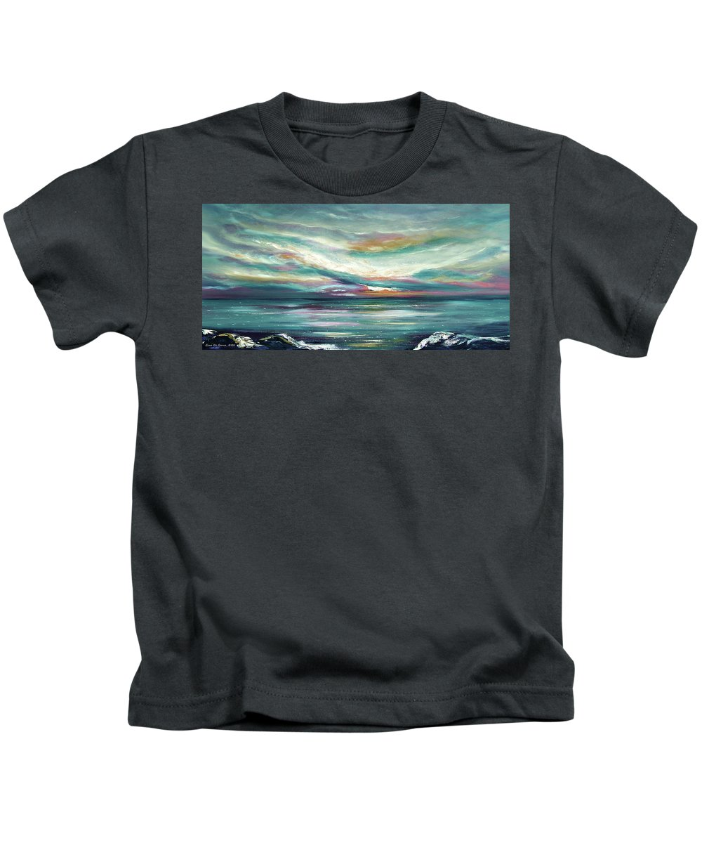 Sunset Kids T-Shirt featuring the painting Here I Stand - Panoramic Sunset by Gina De Gorna