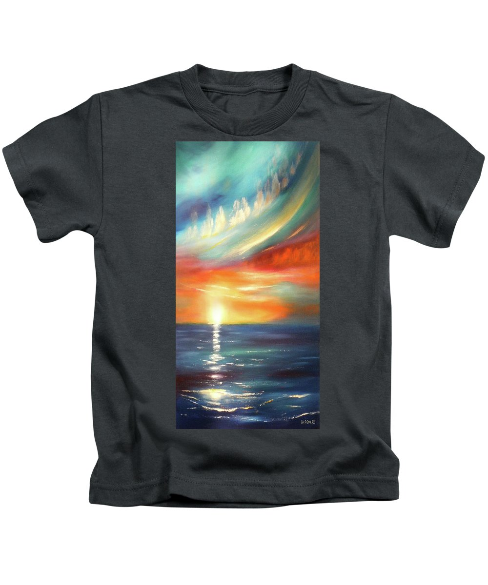 Sunset Kids T-Shirt featuring the painting Here It Goes - Colorful Sunset by Gina De Gorna