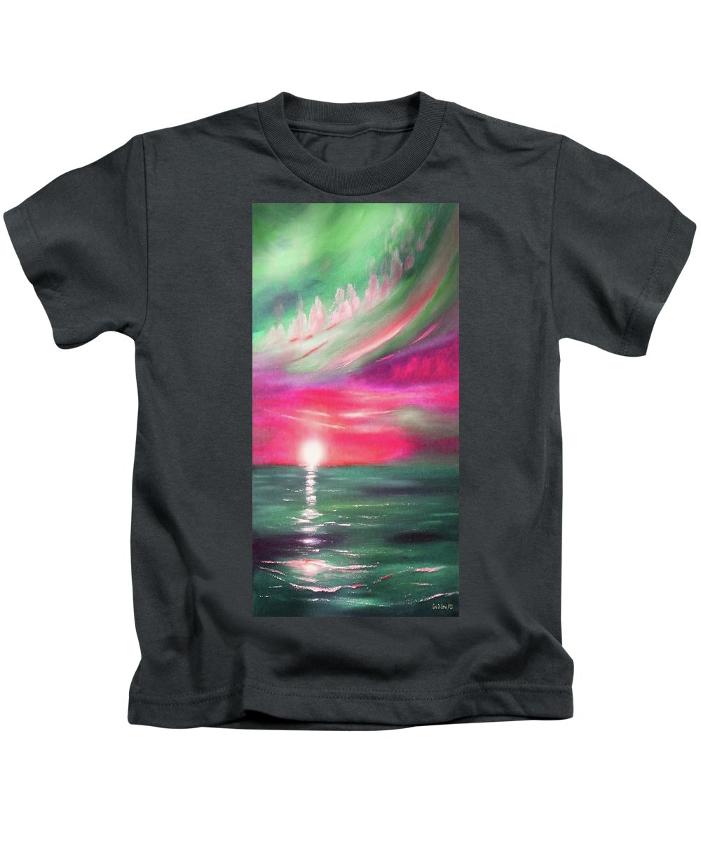Sunset Kids T-Shirt featuring the painting Here It Goes - In Teal And Magenta Vertical Sunset by Gina De Gorna