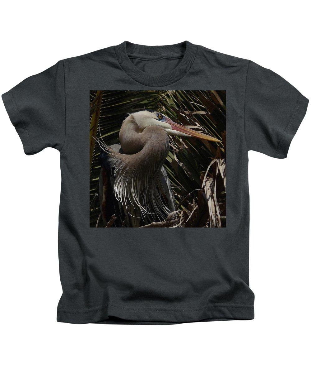 Heron Kids T-Shirt featuring the photograph Heron Close-up by Barbara Wallace