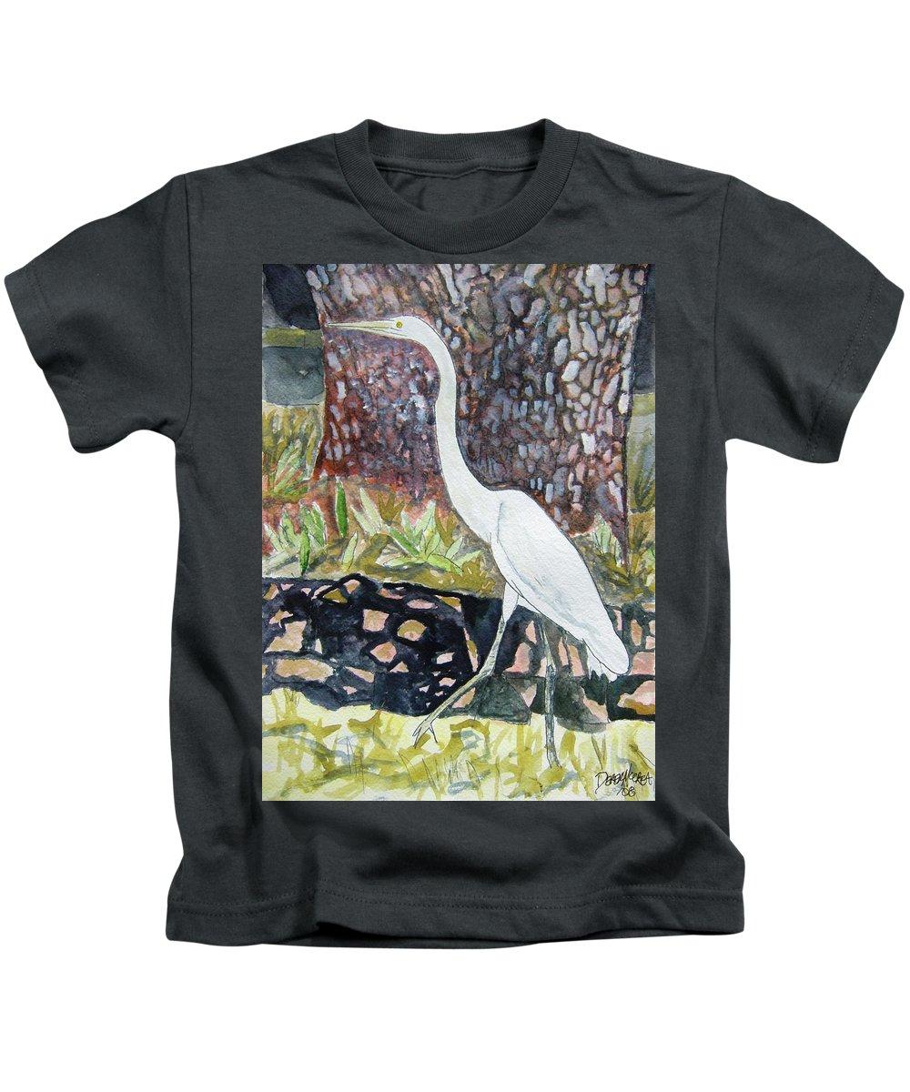 Bird Kids T-Shirt featuring the painting Herron by Derek Mccrea
