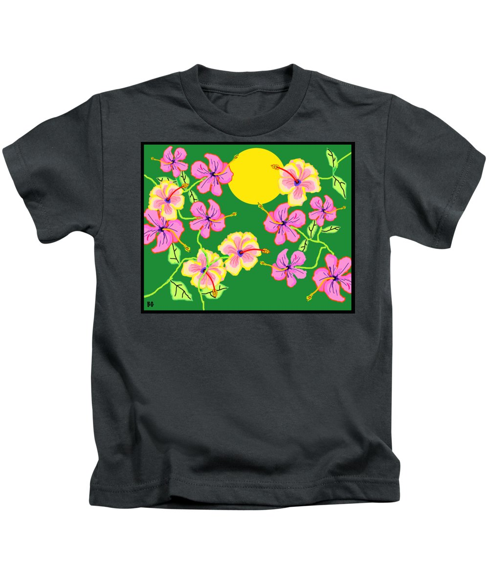 Flowers Kids T-Shirt featuring the drawing Hibiscus by Barbara Gerry
