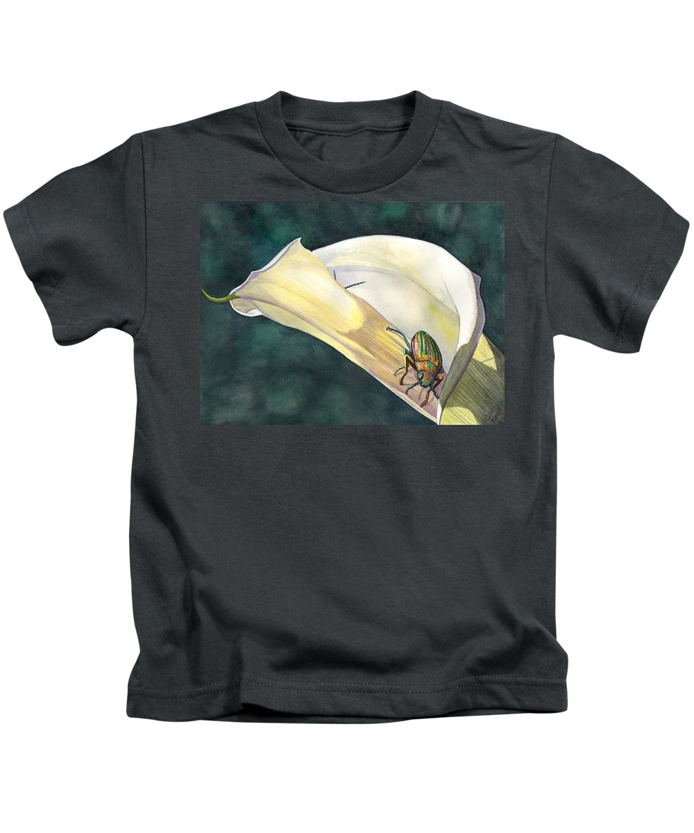 Lily Kids T-Shirt featuring the painting Hide and Seek by Catherine G McElroy