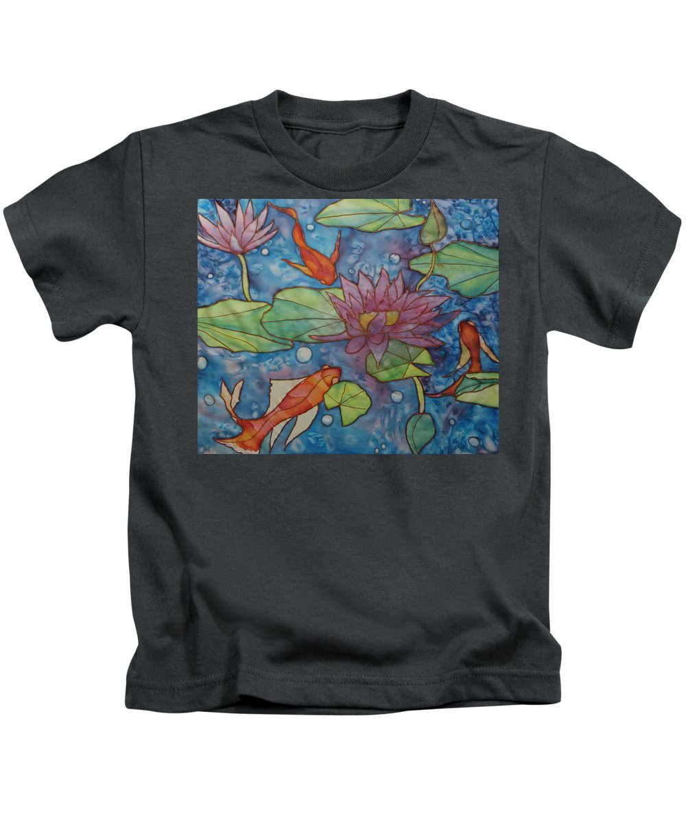 Gold Fish Kids T-Shirt featuring the painting Hide And Seek by Ruth Kamenev