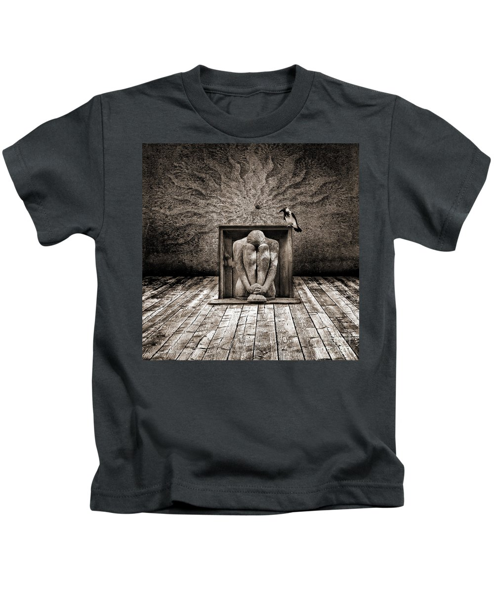 Dark Kids T-Shirt featuring the digital art Hiding by Jacky Gerritsen