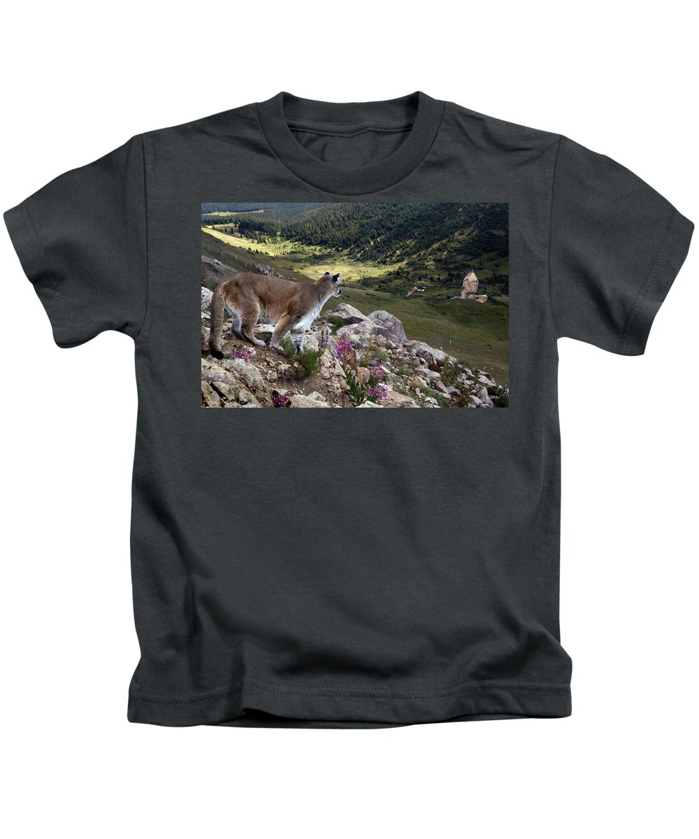 Wildlife Kids T-Shirt featuring the digital art High And Wild by Bill Stephens
