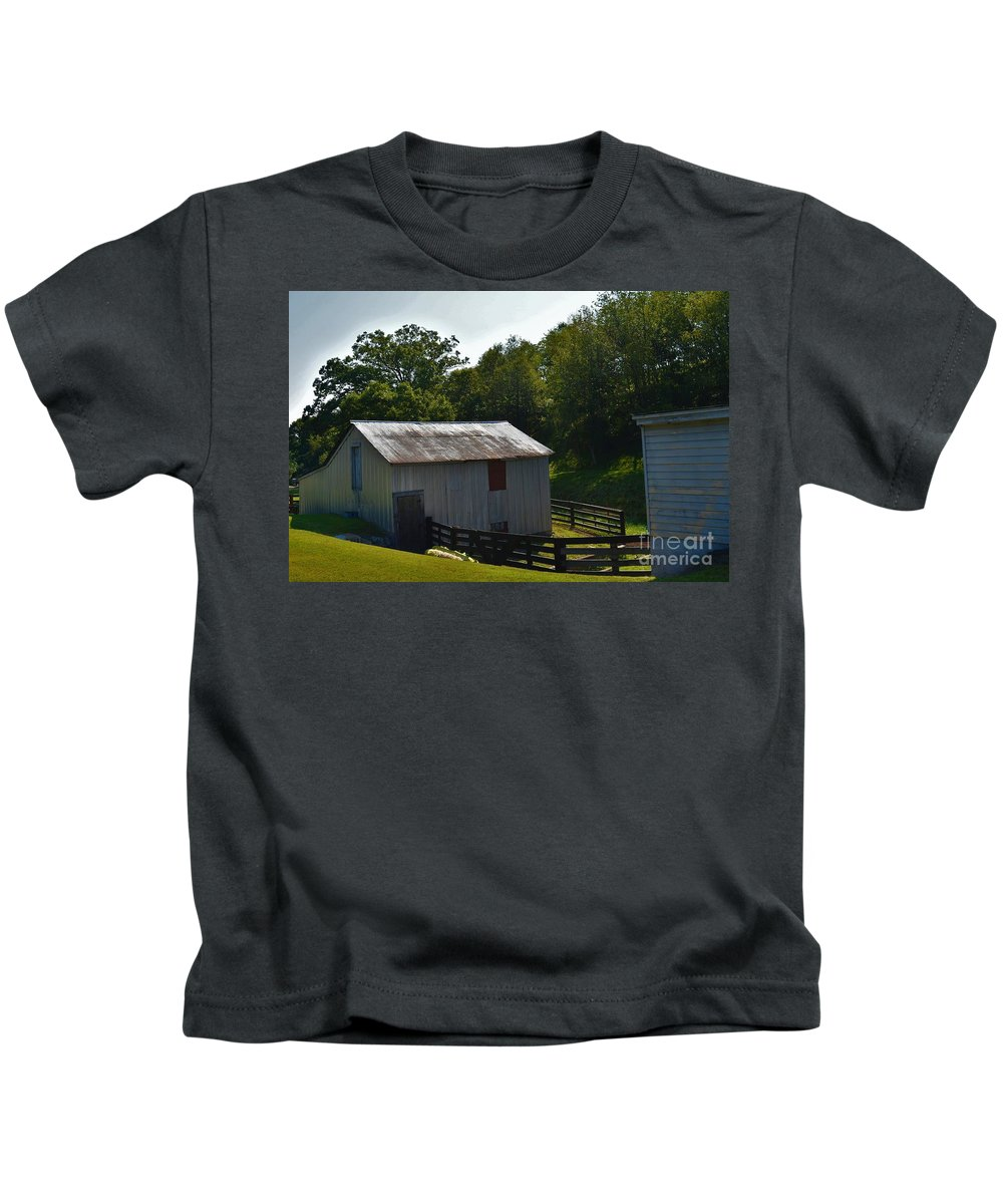 Farmer Kids T-Shirt featuring the photograph Hillside Farm by Lisa Kleiner