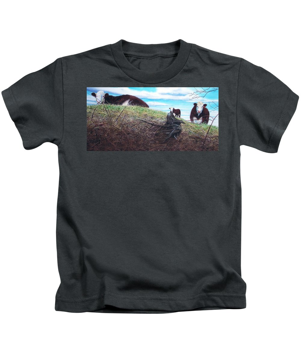 Steers Kids T-Shirt featuring the painting Hillside Retreat by Denny Bond