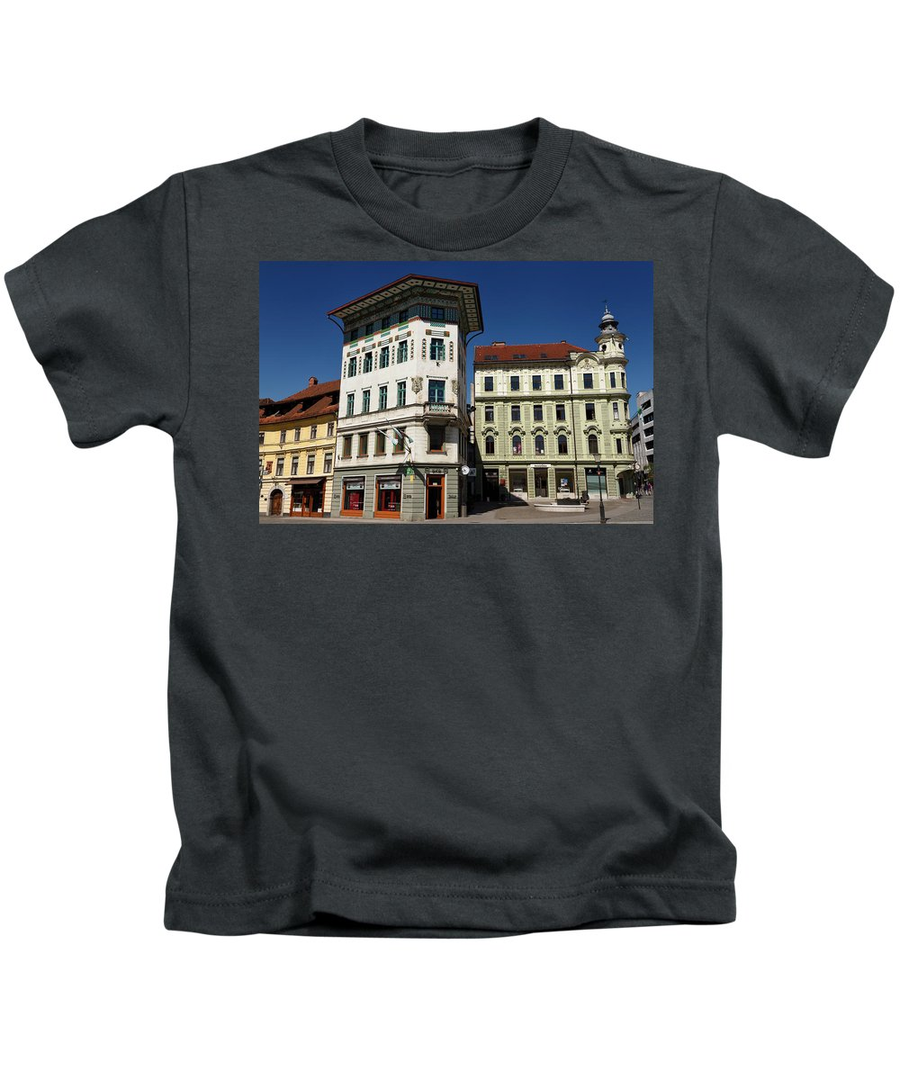 Historic Kids T-Shirt featuring the photograph Historic Art Nouveau Buildings At Preseren Square White Tiled Ha by Reimar Gaertner