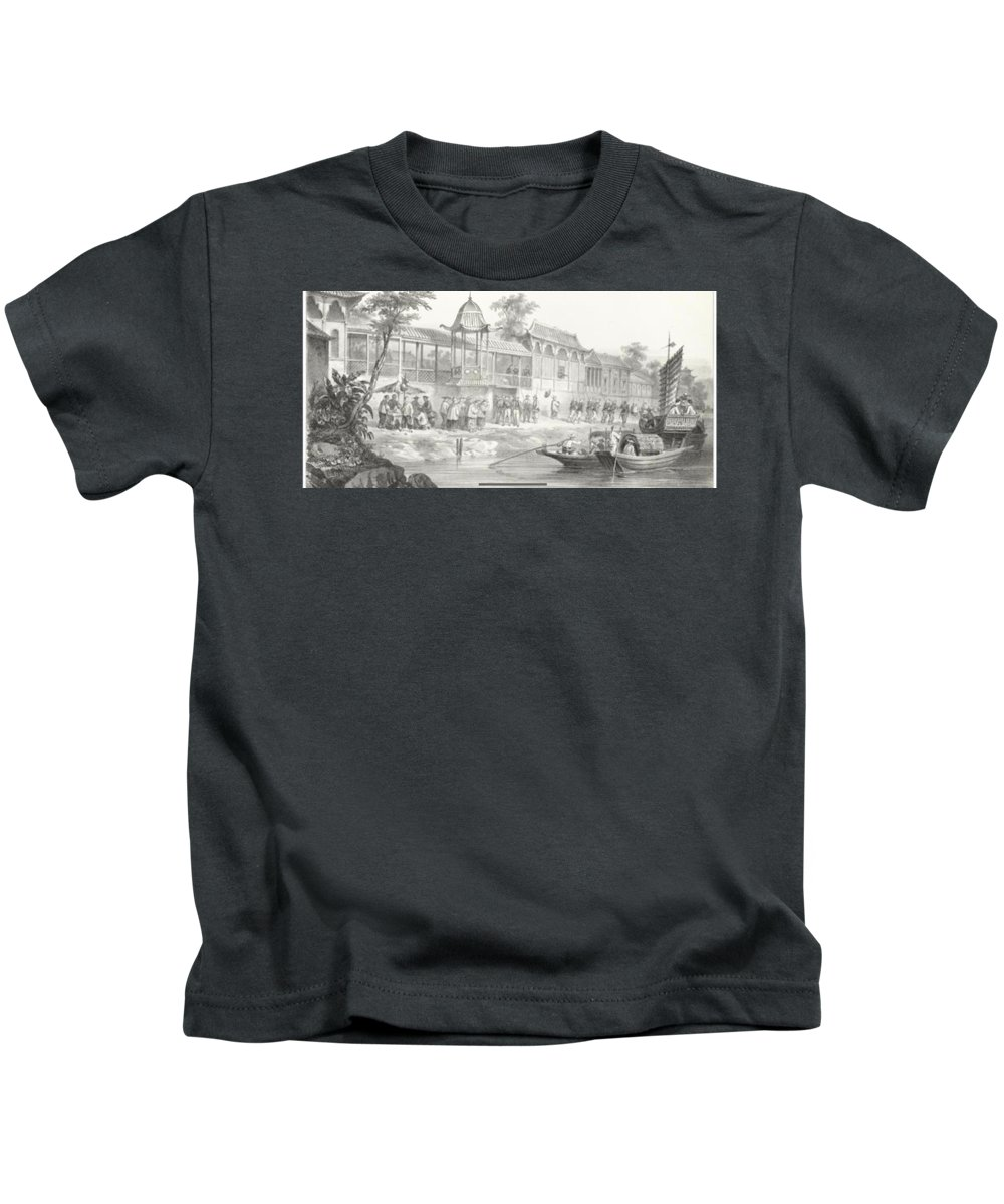 Fortavion (gc) China War. Historical And Anecdotal Shown Great Panorama Kids T-Shirt featuring the painting Historical And Anecdotal Shown Great Panorama by MotionAge Designs