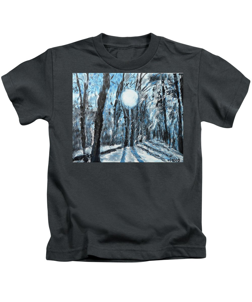 Landscape Kids T-Shirt featuring the painting Hochleite In January by Valerie Ornstein