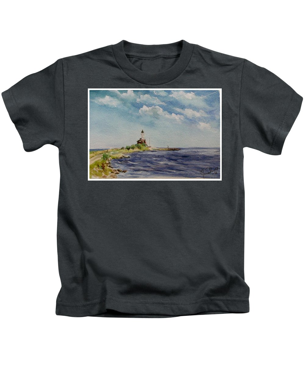 Lighthouse Kids T-Shirt featuring the painting Hogby Lighthouse by Mona Davis