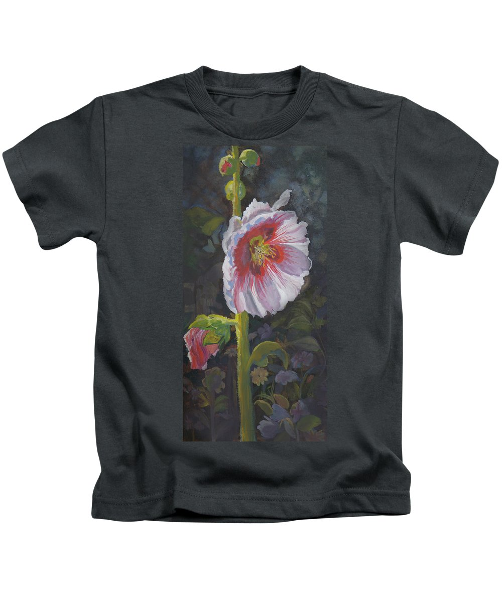 Flower Kids T-Shirt featuring the painting Hollyhock by Heather Coen