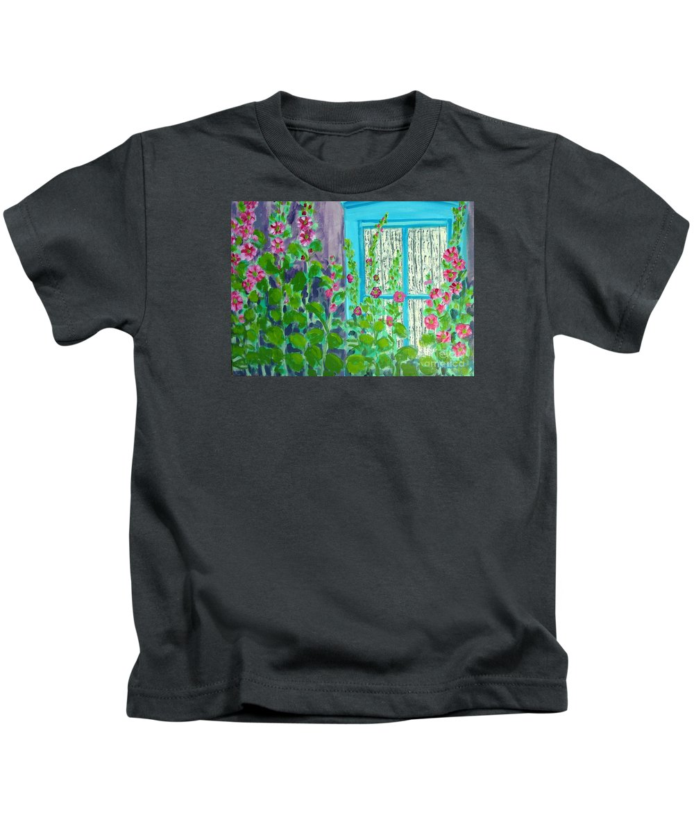 Hollyhocks Kids T-Shirt featuring the painting Hollyhock Surprise by Laurie Morgan