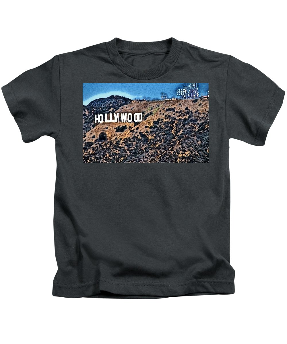 Hollywood Sign Kids T-Shirt featuring the photograph Hollywood Sign by Robert Butler
