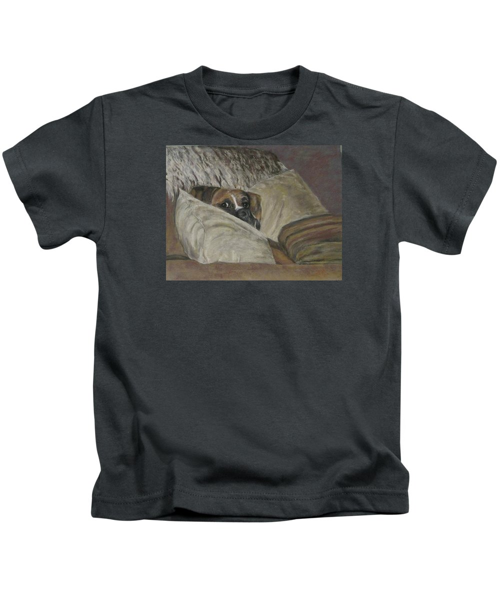 Boxers Kids T-Shirt featuring the painting Home So Soon by Elizabeth Ellis