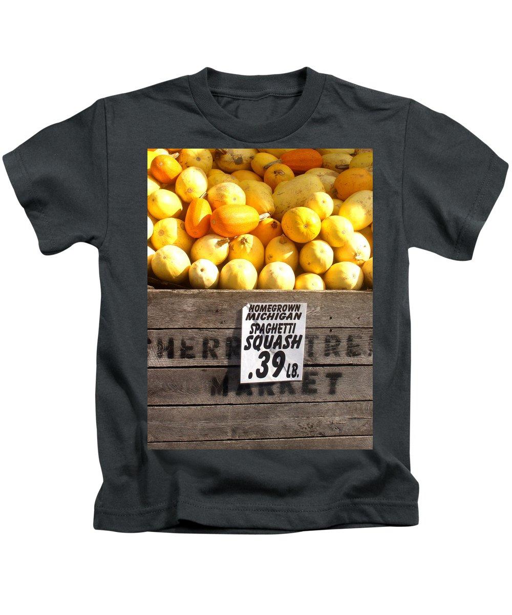 Michigan Kids T-Shirt featuring the photograph Homegrown Michigan Spaghetti Squash by Wayne Potrafka