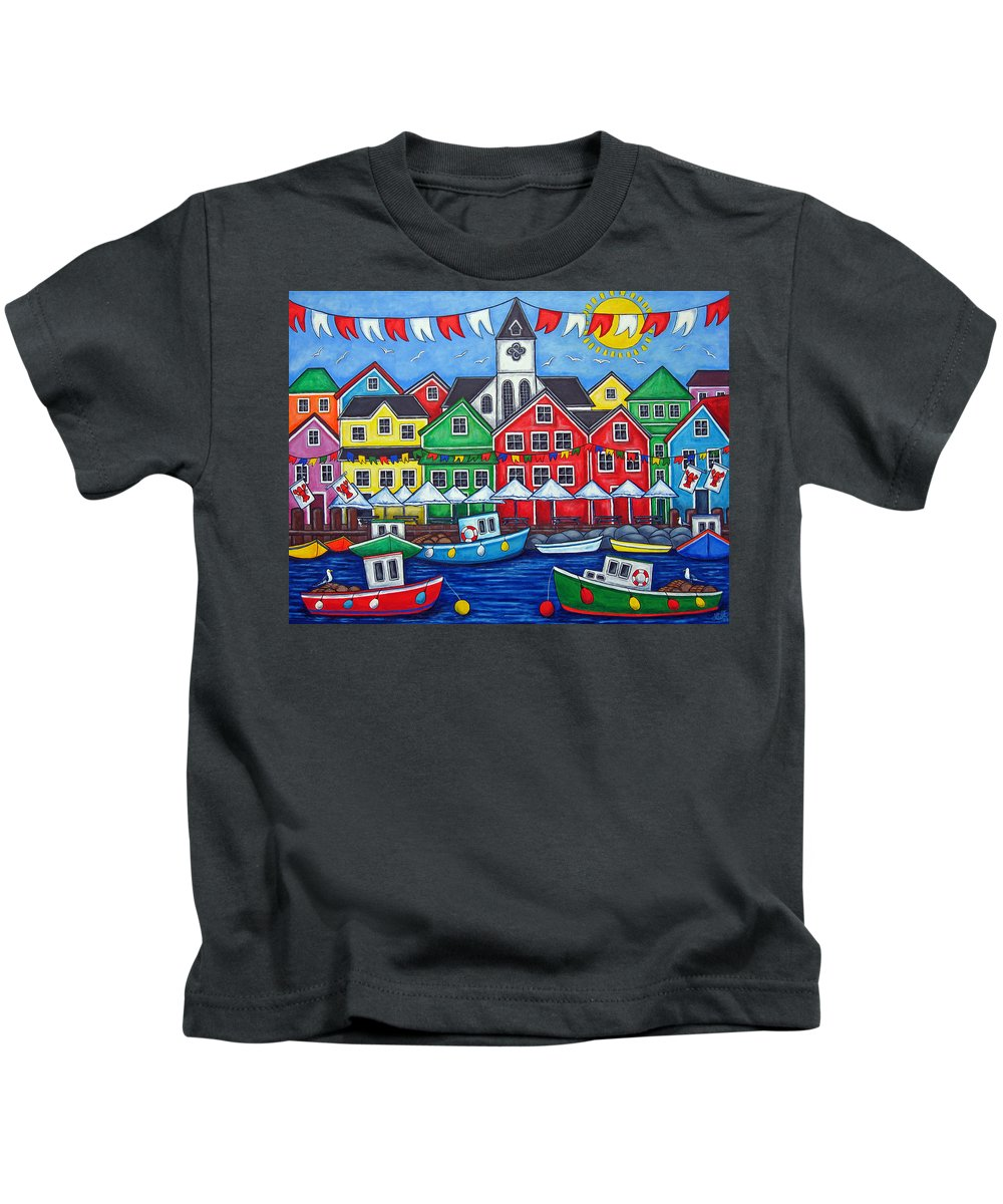 Boats Canada Colorful Docks Festival Fishing Flags Green Harbor Harbour Kids T-Shirt featuring the painting Hometown Festival by Lisa Lorenz