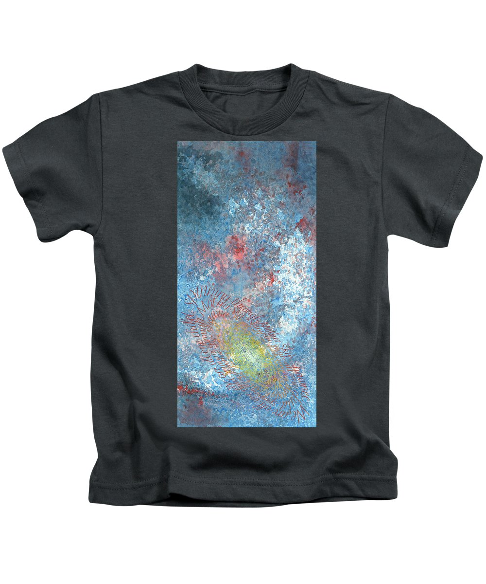 Calligraphy Kids T-Shirt featuring the painting Hoop Dance by Sid Freeman