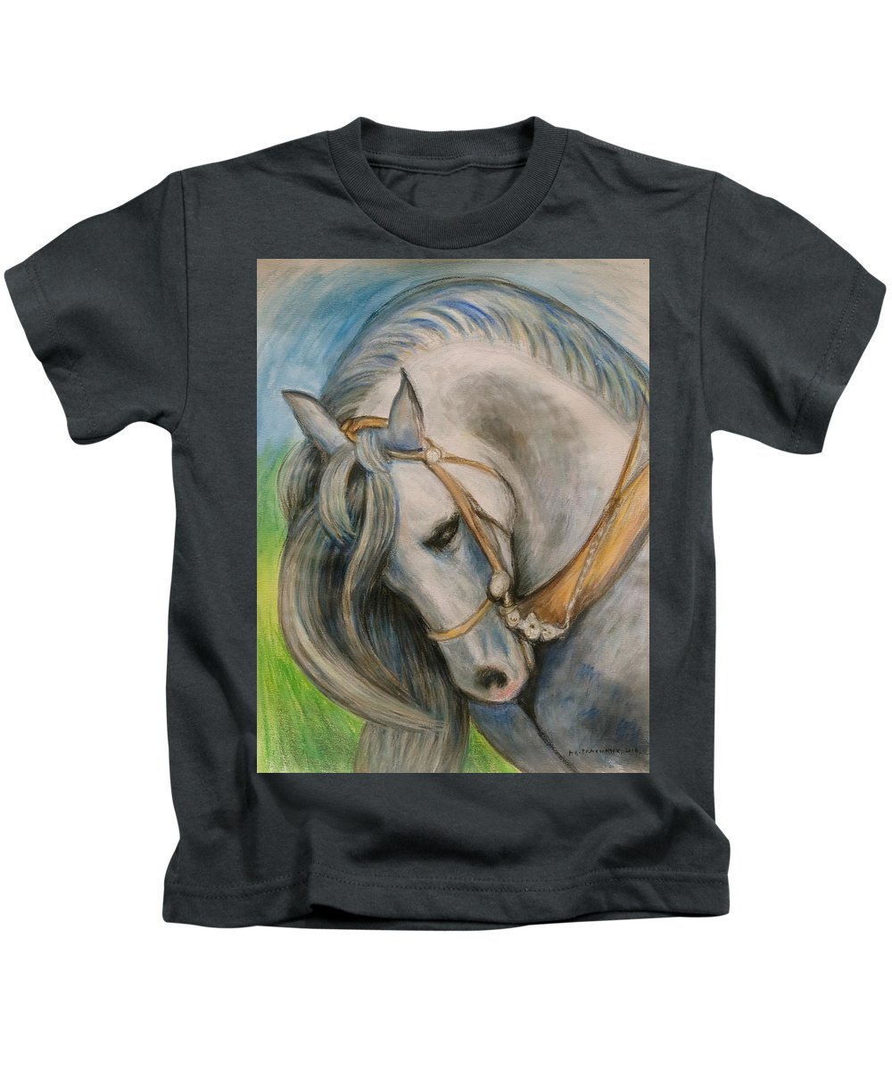 Horse Kids T-Shirt featuring the painting Horse. by Agnieszka Praxmayer