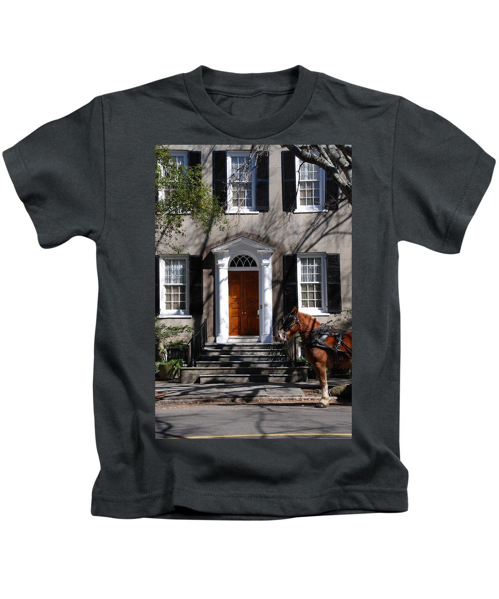 Photography Kids T-Shirt featuring the photograph Horse Carriage In Charleston by Susanne Van Hulst