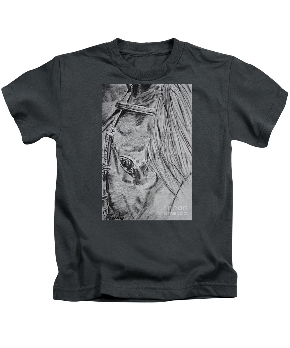 Horse Head Kids T-Shirt featuring the drawing Horse by Regan J Smith