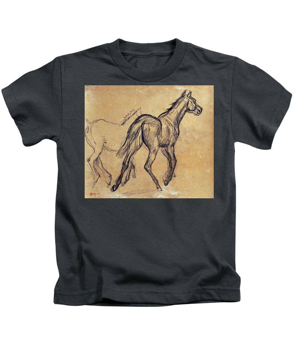Edgar Degas Kids T-Shirt featuring the painting Horses by Celestial Images