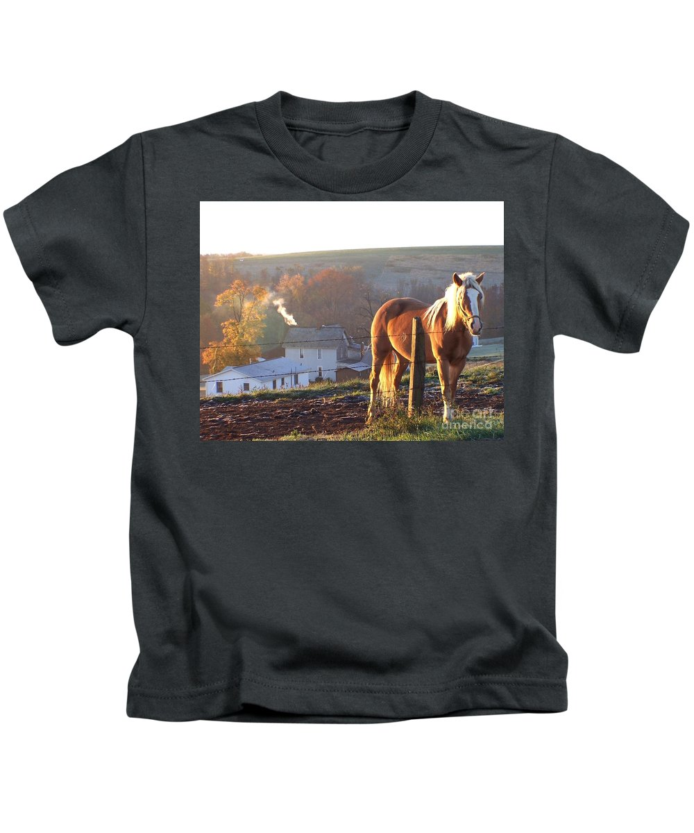 Horses Kids T-Shirt featuring the photograph Horses In Autumn Frosty Sunrise by Charlene Cox