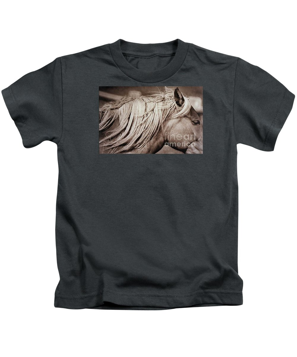 Horse Kids T-Shirt featuring the photograph Horse's Mane by Michael Ziegler