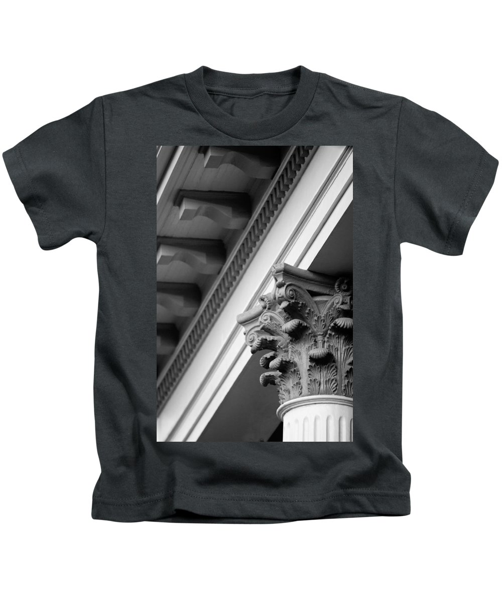 Black And White Kids T-Shirt featuring the photograph House Column Black And White by Jill Reger