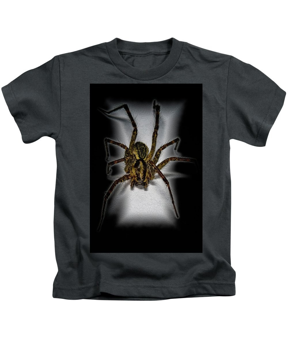Macro Kids T-Shirt featuring the photograph House Spider by Robert Storost
