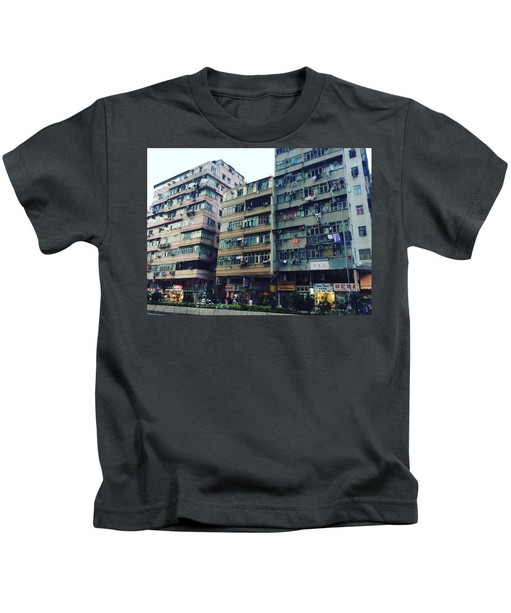 Hongkong Kids T-Shirt featuring the photograph Houses Of Kowloon by Florian Wentsch