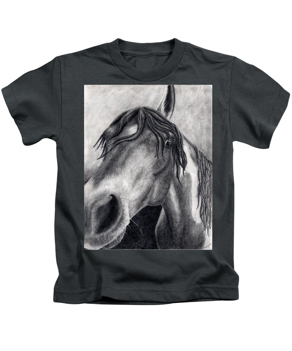 Horse Kids T-Shirt featuring the drawing Houston by Anna Katherine