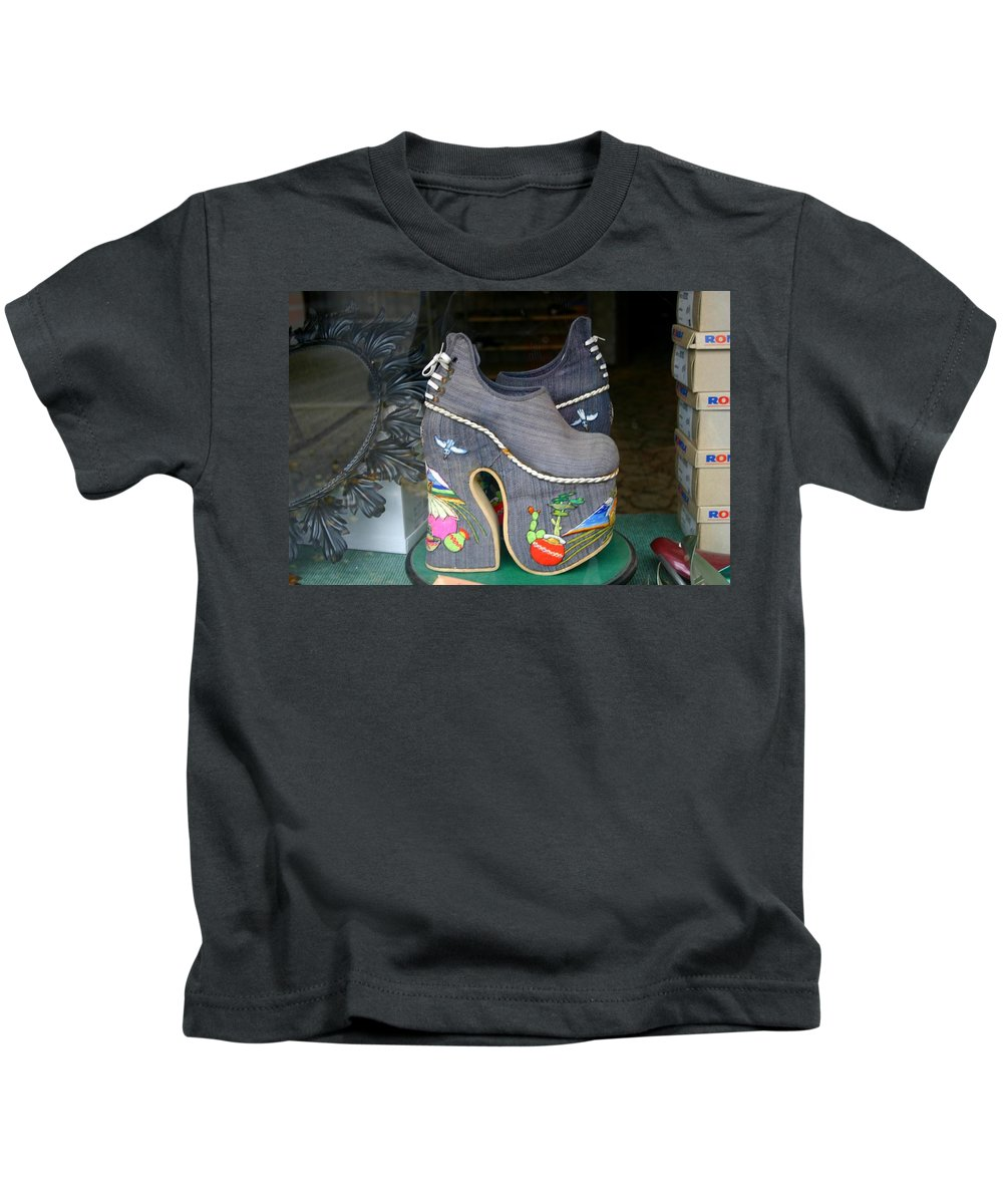 Shoes Kids T-Shirt featuring the photograph How Much Are Those Shoes In The Window by Minaz Jantz