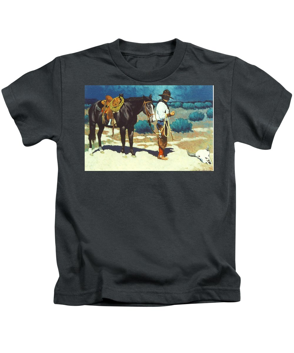 Western Kids T-Shirt featuring the painting Howdy Ole Friend by Jim Bob Swafford