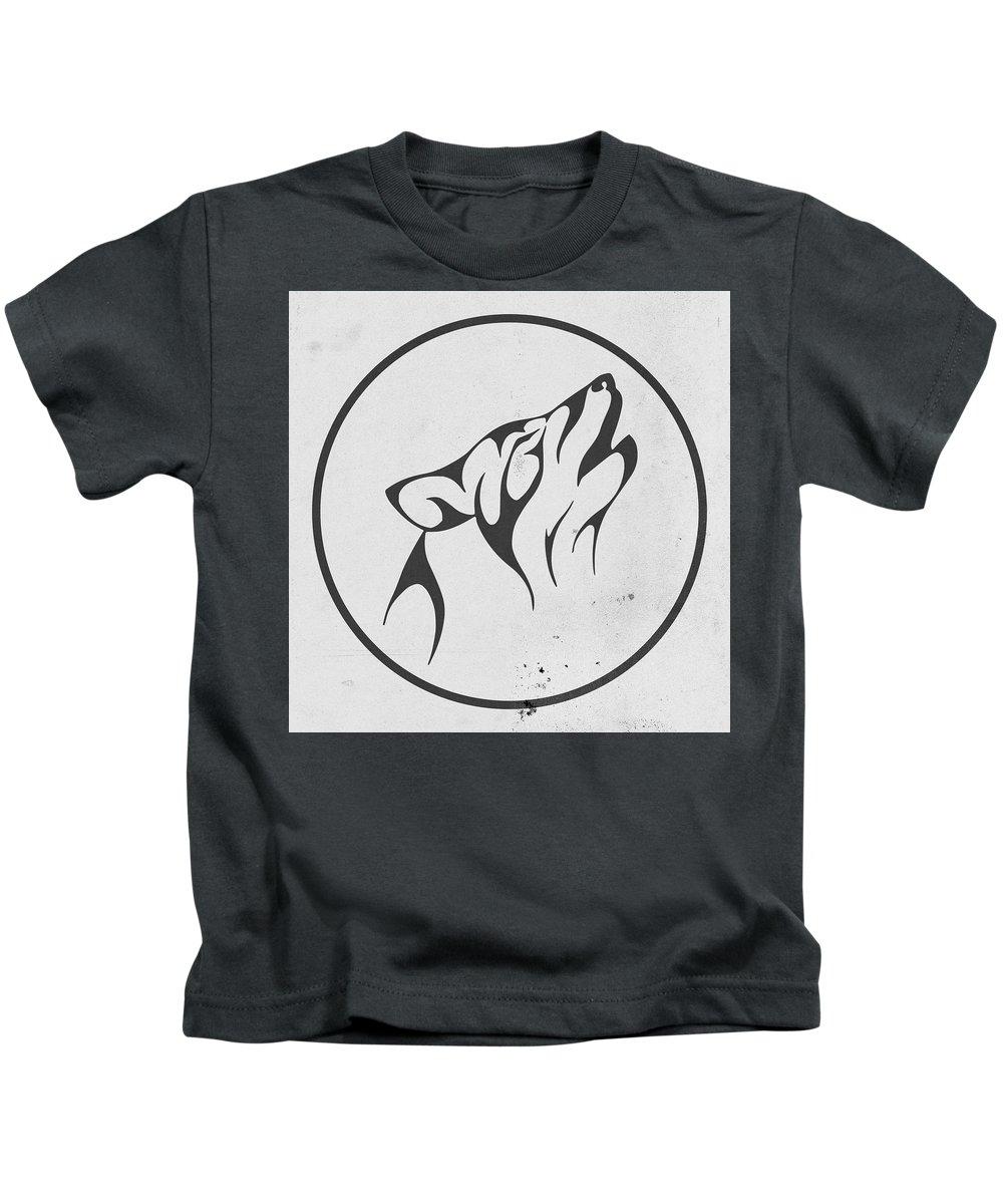 Fool Moon Kids T-Shirt featuring the digital art Howling Wolf Art - Fool Moon Wolf Lovers Prints by Wall Art Prints