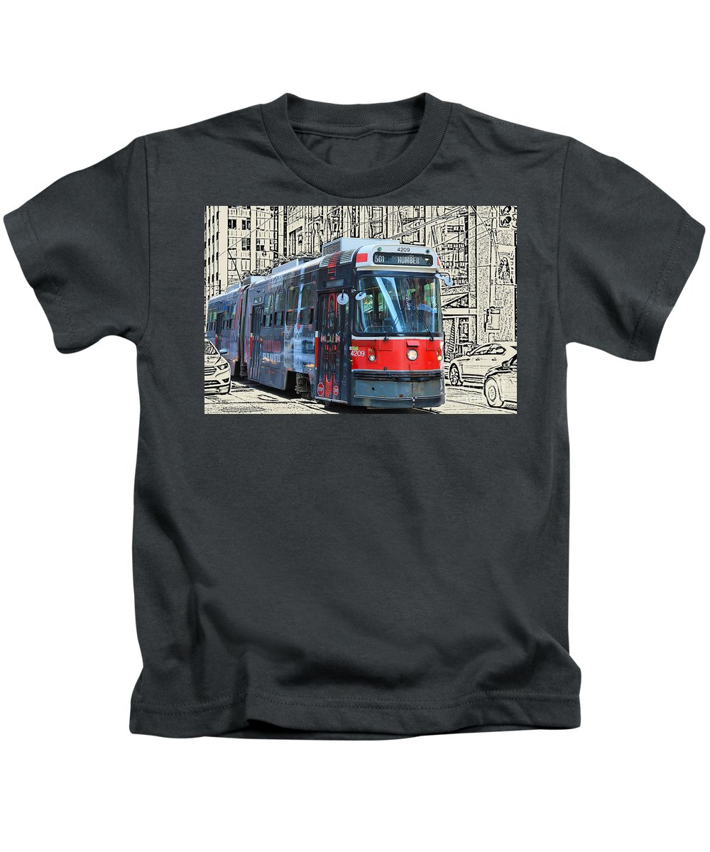 Streetcar Kids T-Shirt featuring the photograph Humber Bound Streetcar On Queen Street by Nina Silver