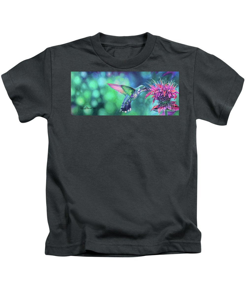 Anne Koivumaki Fine Art Anne Hummingbird Kids T-Shirt featuring the drawing Hummingbird by Anne Koivumaki - Fine Art Anne