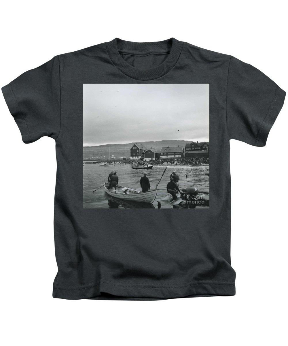 Hunt For Pilot Whales At Torshavn Kids T-Shirt featuring the painting Hunt For Pilot Whales At Torshavn by MotionAge Designs