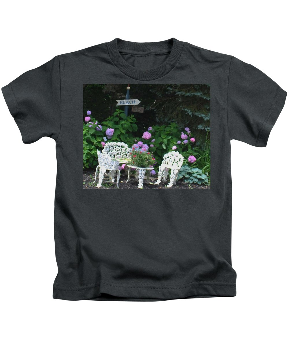Bench Kids T-Shirt featuring the photograph Hydrangea Glory by Eileen Marie Ardillo