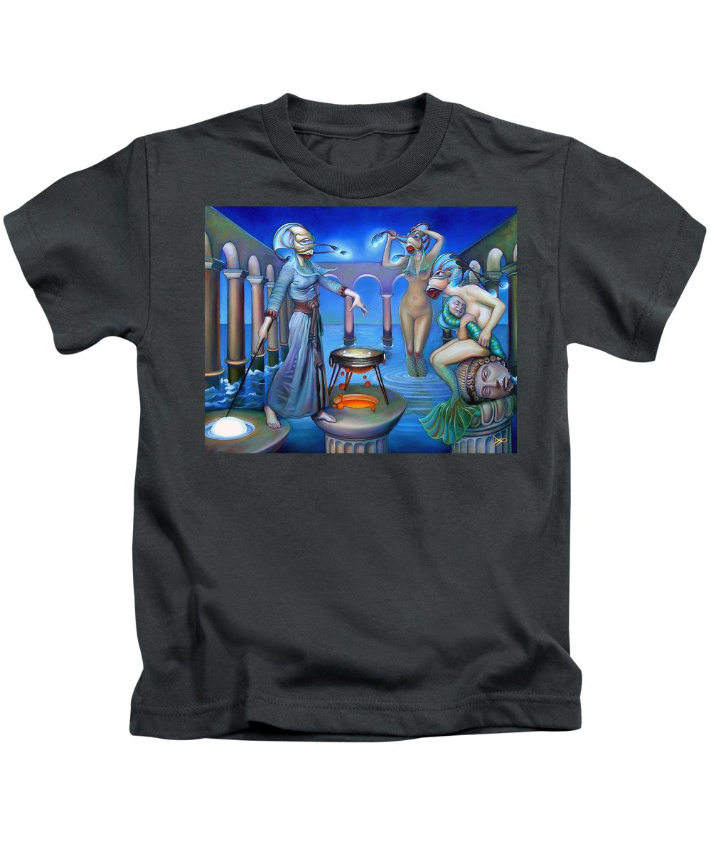 Mermaid Kids T-Shirt featuring the painting Hydromeda's Kitchen by Patrick Anthony Pierson