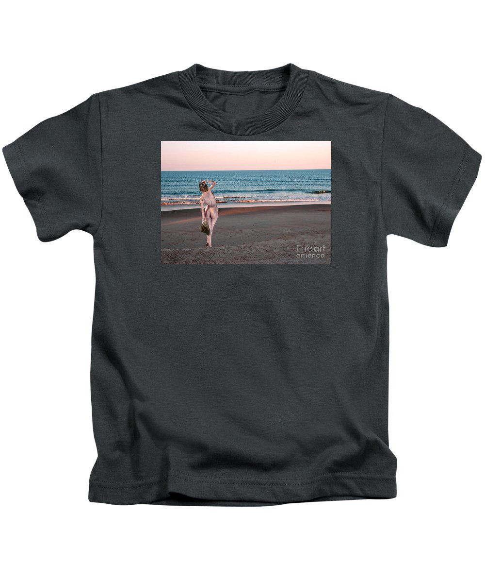 Beach Nude Kids T-Shirt featuring the photograph I Am Most Content by Broken Soldier
