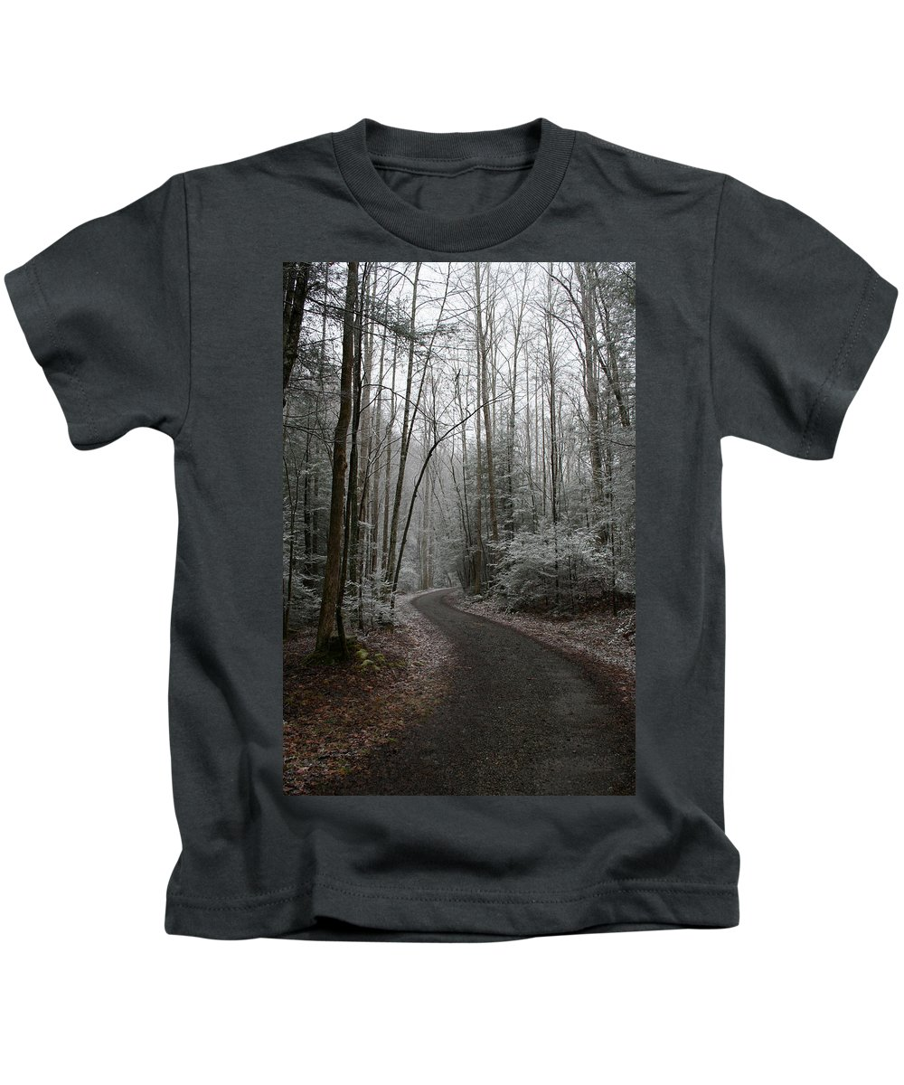 Nature Road Country Woods Forest Tree Trees Snow Winter Peaceful Quite Path White Forest Drive Kids T-Shirt featuring the photograph I Am The Way by Andrei Shliakhau