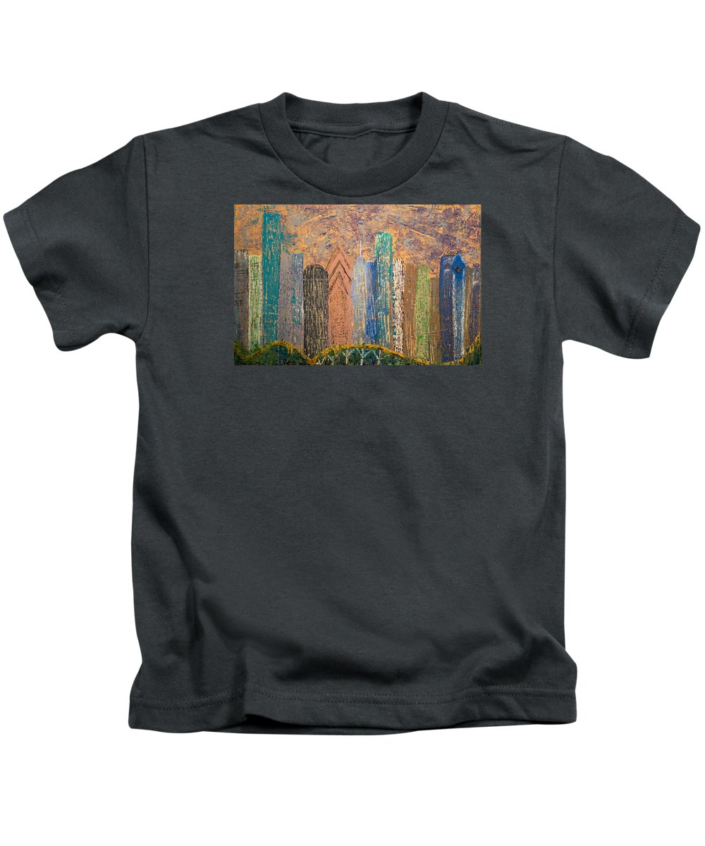 City Abstract Acrylic Metallics Kids T-Shirt featuring the painting I Love Houston by Gabriela Montemayor