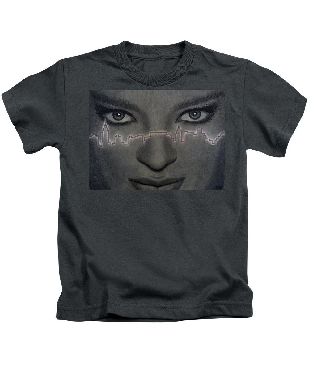 Woman Kids T-Shirt featuring the painting I Love New York by Lynet McDonald