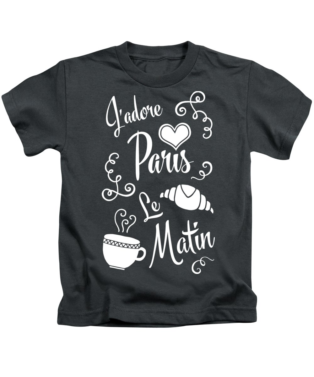 Paris Kids T-Shirt featuring the digital art I Love Paris In The Morning by Antique Images