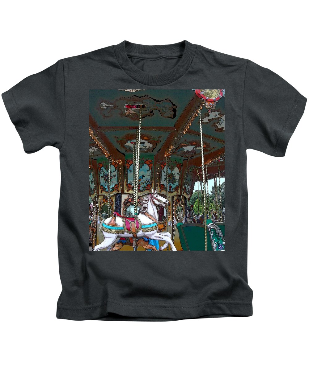 Carousel Kids T-Shirt featuring the photograph I Want The White Horse by Anne Cameron Cutri