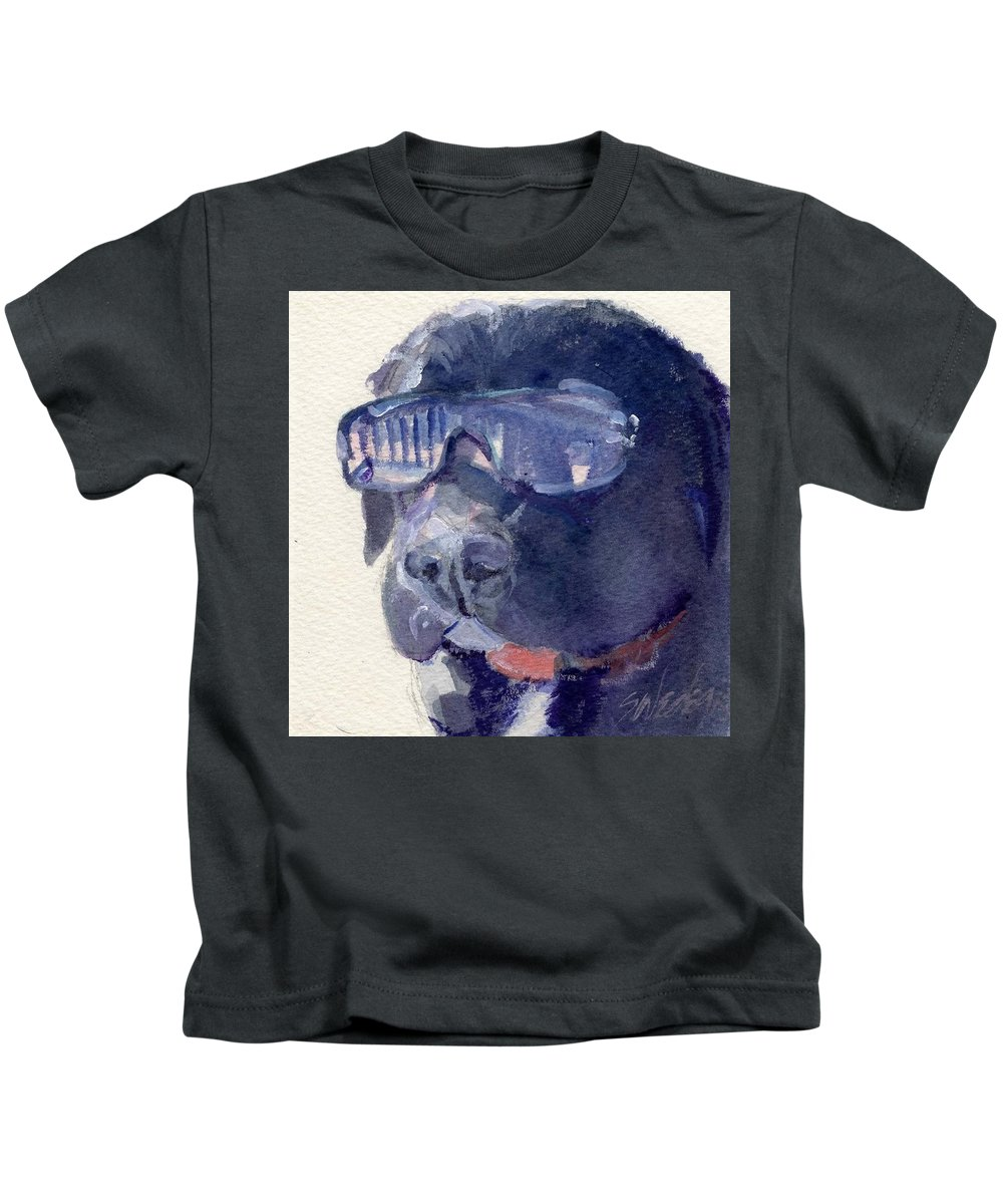 Sunglasses Kids T-Shirt featuring the painting I Wear My Sunglasses At Night by Sheila Wedegis