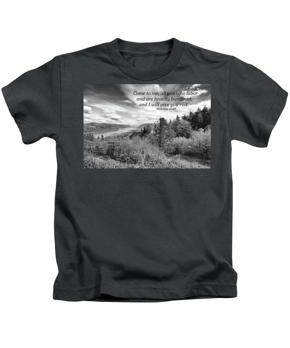 Landscape Kids T-Shirt featuring the photograph I Will Give You Rest by Kim Warden